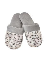 Natori | Gray Snow Lynx Slippers | Lyst