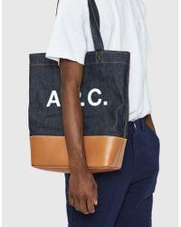 A.P.C. - Black Axel Japanese-denim Tote Bag - Lyst