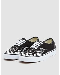 Vans - Black Authentic Checker Flame Shoes - Lyst