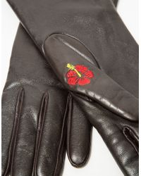 Trademark - Flowered Glove In Brown - Lyst