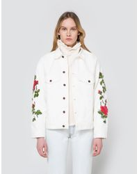 Lyst Off White C O Virgil Abloh Rose Embroidered Denim Jacket In White