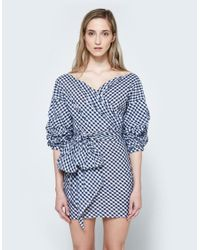 Farrow | Blue Jayne Wrap Dress In Gingham | Lyst
