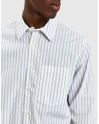 Margaret Howell - Washed Basic Shirt In Stone/blue for Men - Lyst