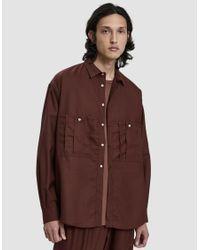 Dima Leu - Brown Wool Button Up Shirt for Men - Lyst