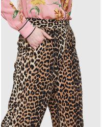 Ganni - Multicolor Fayette Silk Pants In Leopard - Lyst