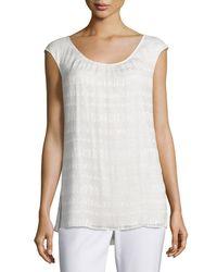 St. John - White Metallic Crinkled Cap-sleeve Shell - Lyst