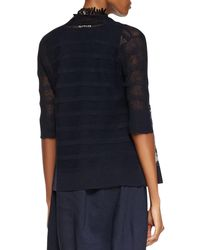 Eileen Fisher - Blue Linen Striped Cardigan - Lyst