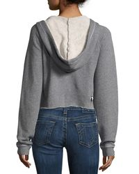 True Religion - Gray Pullover Hoodie With Patch Appliqués - Lyst