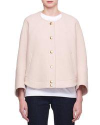 Chloé - Pink Snap-front Wool-blend Short Bomber Coat - Lyst