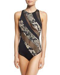 Carmen Marc Valvo | Black Ornamental Floral Mesh High-neck One-piece Swimsuit | Lyst