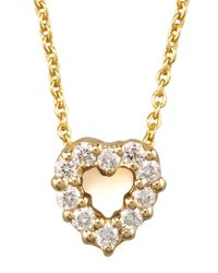 Roberto Coin | Metallic Pave Heart Necklace | Lyst