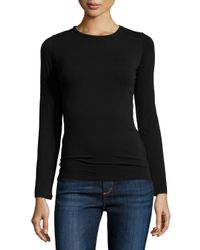 Neiman Marcus - Black Soft Touch Crewneck Top - Lyst