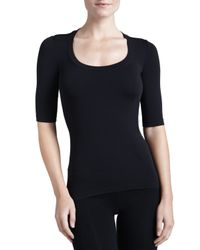 Wolford   White Como Scoop-neck Half-sleeve Shirt   Lyst