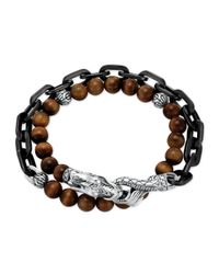 John Hardy - Gray Naga Tigers Eye Stainless Steel Double-Wrap Link Bracelet for Men - Lyst