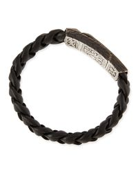 John Hardy - Black Mens Classic Chain Station Bracelet With Leather Strap for Men - Lyst