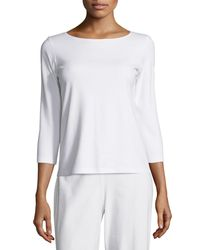 Eileen Fisher - White 3/4-sleeve Cotton Tee - Lyst
