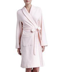 Hanro | Pink Plush Basic Tie-waist Robe | Lyst