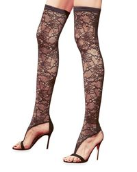 Gianvito Rossi - Black Over-the-knee Stretch Lace Boot/sandal - Lyst