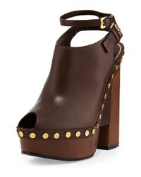 Tom Ford | Brown Calfskin Platform Clog Sandal | Lyst