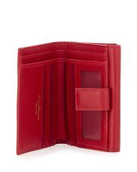 Ferragamo - Red Gancio Clasp Saffiano French Wallet - Lyst