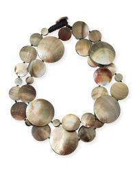 Viktoria Hayman - Green Long Shell Disc Necklace - Lyst