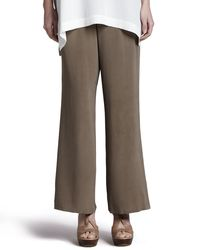 Go> By Go Silk - Green Silk Full-leg Pants - Lyst
