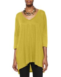 Eileen Fisher - Yellow Linen Tunic Sweater - Lyst