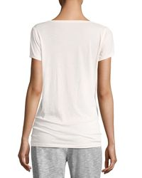 Skin | Pink Easy V-neck Cotton Tee | Lyst