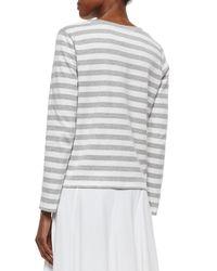 Joan Vass - White Long-sleeve Striped Top - Lyst