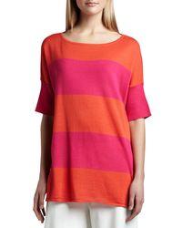Joan Vass - Red Striped Boxy Sweater - Lyst