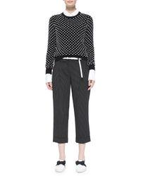 Michael Kors - Black Pindot-pattern Slouchy Capri Trousers - Lyst