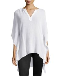Skin - White Split-neck Short Cotton Caftan - Lyst