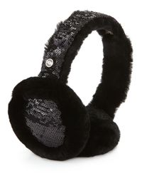 UGG - Black Two-tone Sequin Shearling Fur Headphone Wired Earmuffs - Lyst