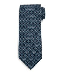 Ferragamo | Blue Large-gancini Print Silk Tie for Men | Lyst