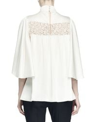 Alexander McQueen - White Ruffled Lace-inset Blouse - Lyst
