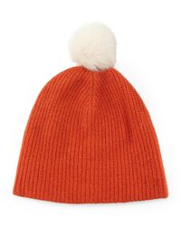 Rag & Bone - Orange Cynthia Knit Beanie With Shearling Fur Pompom - Lyst
