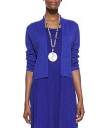 Eileen Fisher   Blue 3/4-sleeve Slub Cropped Cardigan   Lyst