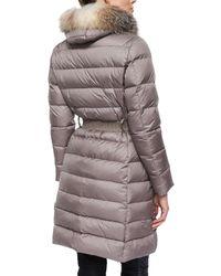 Moncler - Black Fabrefox Fur-trim Puffer Coat With Belt - Lyst