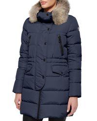 Moncler - Gray Fragonette Fur-trim Puffer Coat - Lyst