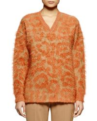Stella McCartney - Brown Leopard-pattern Mohair-blend Sweater - Lyst