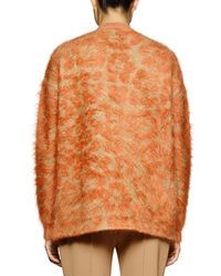 Stella McCartney - Brown Leopard-pattern Mohair-blend Sweater - Lyst
