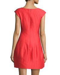Halston   Blue Cap-sleeve Bubble-skirt Cocktail Dress   Lyst