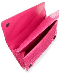 Bottega Veneta - Pink Piano Crocodile Crisscross Clutch Bag - Lyst