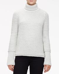 Wes Gordon - Metallic Textured Chain Knit Turtleneck Sweater - Lyst