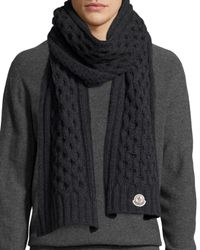 Moncler - Gray Cable-knit Cashmere Scarf for Men - Lyst