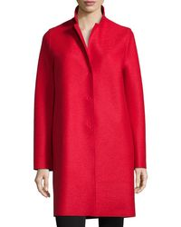 Harris Wharf London | Red Double-face Wool Hidden Placket Coat | Lyst