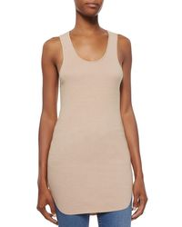 Helmut Lang - White Cotton Racerback Shirttail Tank Top - Lyst
