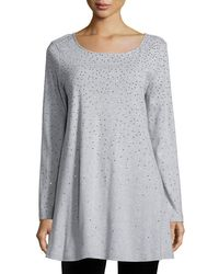 Joan Vass | Metallic Long-sleeve Sparkle Tunic | Lyst