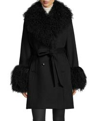 Sofia Cashmere - White Fur-Trimmed Wool and Cashmere-Blend Coat  - Lyst