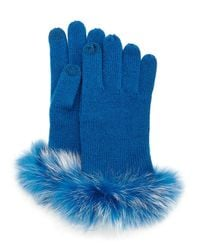Neiman Marcus | Blue Cashmere Tech Gloves W/fox Fur Cuff | Lyst